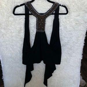 Ginger G Beaded Black Racerback Tank Vest Medium